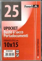 CONF. 25 BUSTE A SACCO UPOCKET 10X15 cm. - FAVORIT