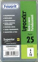CONF. 25 BUSTE A SACCO UPOCKET 6X10 cm. - FAVORIT